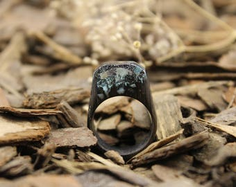 Wood ring, Landscape ring, massive ring, Wood resin ring, glow ring,  unusual ring. Statement ring. In stock 7 1/2 size