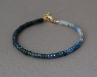 Blue Sapphire Gemstone Beaded Gold Bracelet also available in Silver