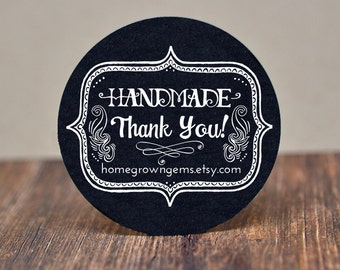 WHITE Handmade Thank You Stickers Labels - Wedding - Party - Gift - Labels