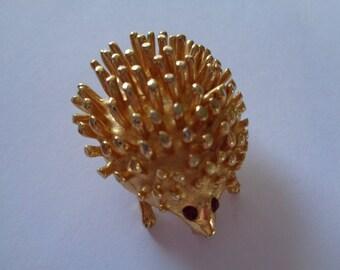 Vintage Unsigned Goldtone Hedgehog Brooch/Pin Red Rhinestone Eye