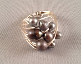 Gray Freshwater Pearl Sterling Silver Wire Wrapped Ring
