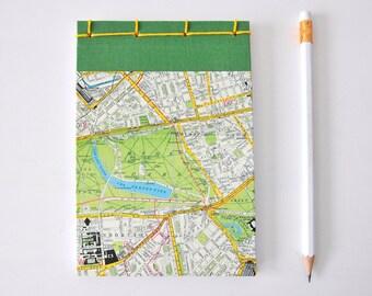 Kleines Notizbuch, Stadtplan, London, Cavallini Papier, grün, gelb, Journal, Tagebuch, Skizzenbuch, Reisetagebuch, Notizblock