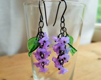 Lilac blossom flower earrings, 30's 40's  inspired with czech glass flowers and leaves.