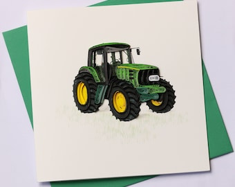 Tractor Quilling Greeting Card, Quilling Cards, Birthday Cards, Greeting Cards, Handmade Greeting Card, Handmade Card