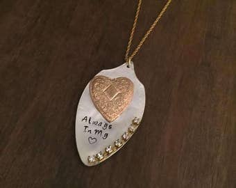 Always In My Heart Necklace- Vintage Upcycle Hand Stamped Spoon Necklace- SIlver & Gold Spoon Upcycle Necklace- Gifts for Mom- Daugter Gift