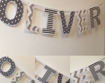 Personalised Bunting Name Banner Grey & White Fabric Mix