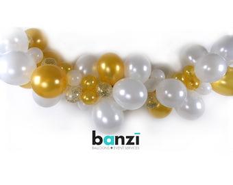 DIY White Gold Confetti Organic Balloon Garland Kit - arch garland banner party decoration