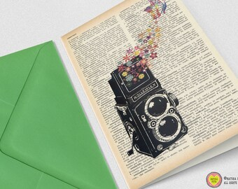 Rolleiflex camera with flowers and butterfly Greeting Card - 4x6 inches - Invitation card- Stationery card-design by NATURA PICTA NPGC025