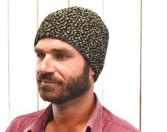 Hand Knit Beanie Hat Womens Mens Unisex Warm Winter Gear Rustic Woodland Black and Tan