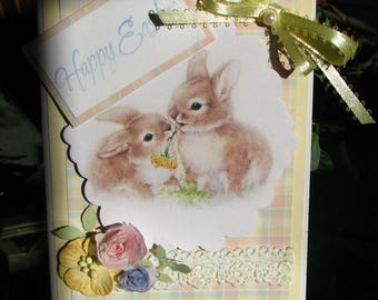 Easter Card - Easter Greeting Card - Bunny Rabbit Card - Bunny Rabbit Greeting Card - 3D Easter Card - Ribbons and Lace Greeting Card