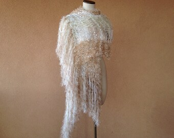 Rustic Wedding Fringe Shawl for Rustic Country Wedding in Ivory, Burlap Beige, Taupe Brown, Cream Burlap Wedding