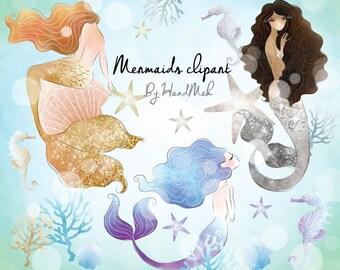 Watercolor Mermaid , Mermaids clip art,instant download PNG file - 300 dpi