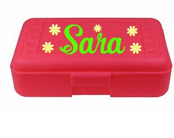 Back to School, Monogram,  Personalized Pencil Box, Many colors available