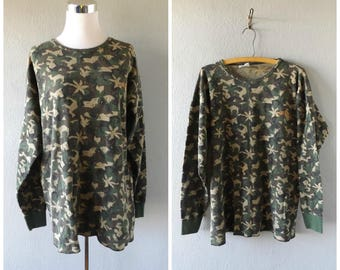 camel cigarette camouflage long john shirt - vintage 90s green brown camo - size extra large - grunge hipster waffle knit pullover - 1990s