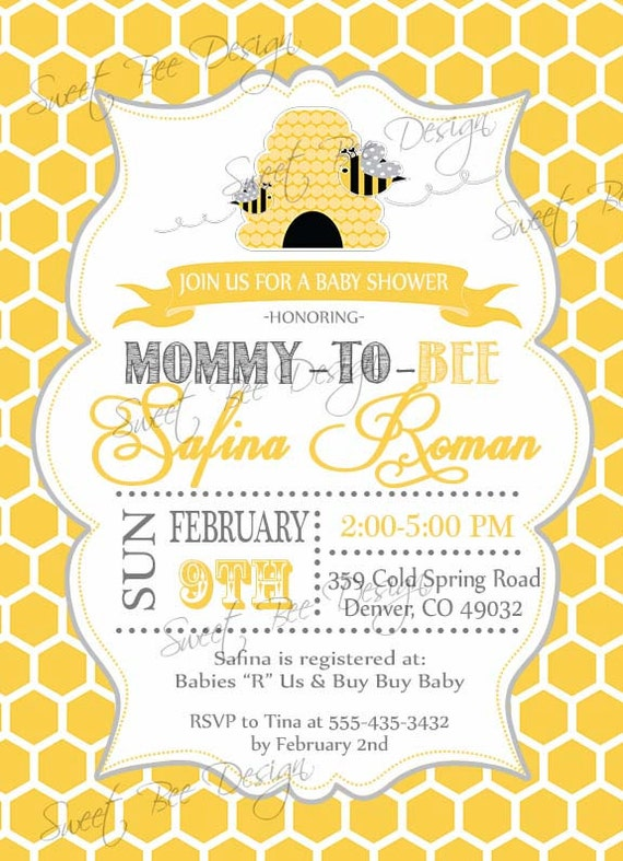 Awesome Bee Baby Shower Invitation, Mommy To Bee, Bee Shower, Baby Shower, Bee Baby  Shower, Mommy To Bee Shower, Honeycomb