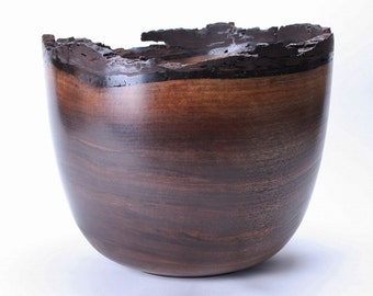 "Black Walnut Natural Edge Wooden Bowl #1025 13"" X 11 1/2"""
