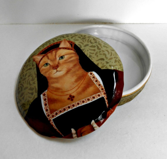 Large Kitty Cat Trinket Box Renaissance Cats Collection