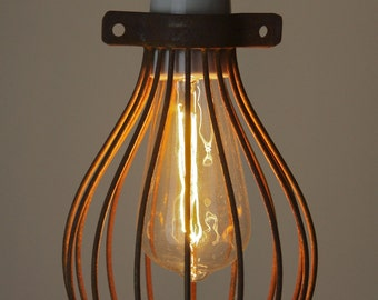 Rusted Balloon cage lamp light pendant hanging wire trouble cage lamp chandelier cloth cord light ceiling drop