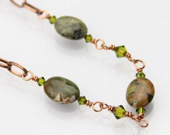 Stone necklace - Stone jewelry - Copper necklace - Copper and Jasper - Crystal jewelry - Green stone necklace - Jasper jewelry - Under 25