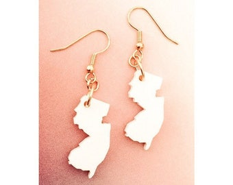 New Jersey Shape Earrings, White Acrylic Laser Cut Plastic, State Jewelry