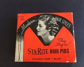 Sta-Rite Hair Pins in Original 1920's-1930's  Vintage Box made in Shelbyville, Illinois