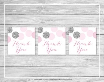 Pink and Silver Baby Shower Favor Thank You Tags - Printable Baby Shower Thank You Tags - Pink and Glitter Baby Shower - Favor Tags - SP123