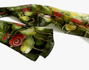 Hand painted silk scarf in green and red , with woodland natural motive.Made to order!