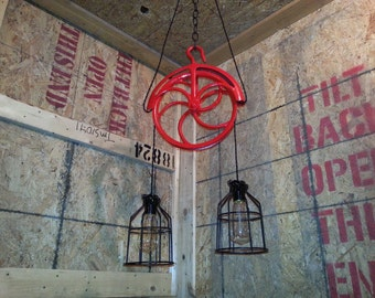 Vintage well pulley pendant light.