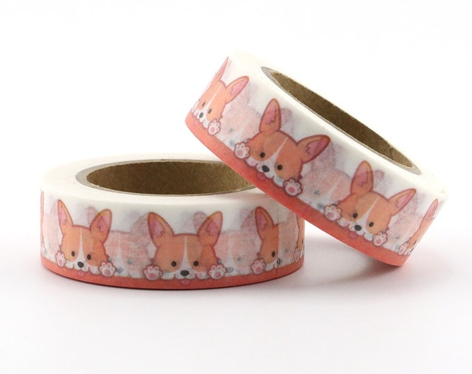 Corgi Dog Washi Tape - Dog washi Tape -  Animal Washi Tape - Paper Tape - Planner Washi Tape - Washi - Decorative tape - Pet washi tape