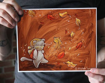 Autumn Cat Walking Through Leaves; Fine Art Print