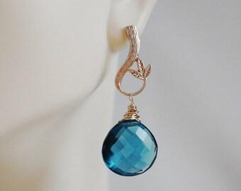 Mothersdaysale London Blue Quartz Drop Dangle Earrings- Wedding Jewelry - bridal Jewelry