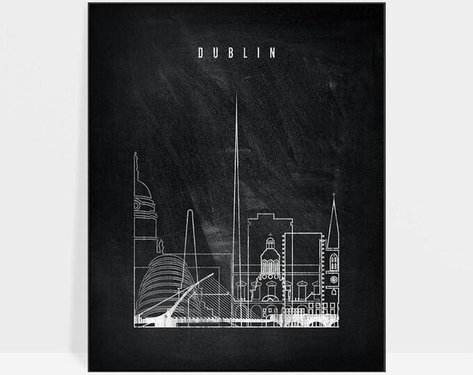Dublin print, Dublin skyline poster, Dublin Wall art, Travel, Black and white poster, Chalkboard print, travel, home decor, ArtPrintsVicky