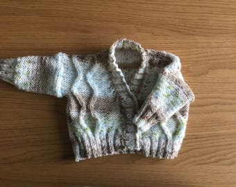 Newborn 'zigszag' cable knit cardigan