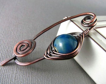 Wire Shawl Pin Copper Wire Wrap Scarf Pin Sweater Pin Fibula Wire Wrapped Jewelry Wire Work Metal Shawl Pin Copper Shawl Pin