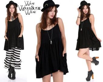 Black Boho Dress Baby Doll S/M/L/XL