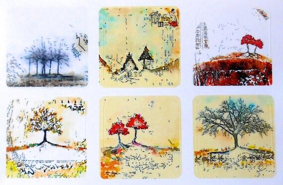 Mini Trees Asian - Fine Art Stickers