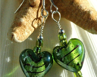 Green Lampwork Heart Earrings