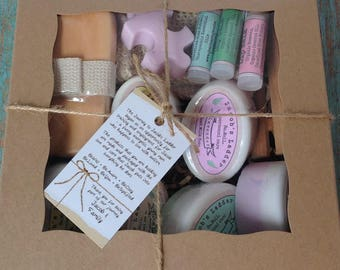 Family Size Gift Box - Paraben/Sulfate Soap, Lip Balm, Soap Dish, Sisal Pouch, Bath Brush