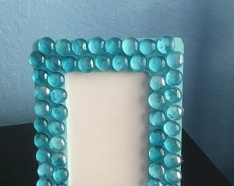 Light Blue Glass Bead Picture Frame