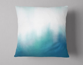 Teal and Blue Pillow, Tie Dye Effect, Gradient, Accent Pillow, Pillow Sham, Beach Decor, Modern Home Decor, Abstract, Artsy, Pastel, Bright