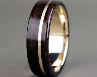 Ebony with 14K Offset Yellow Gold Inlay and Base