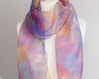 """vintage long scarf, rectangle scarf, polyester scarf, fabric women 34x172cm / 13x67"""" sheer scarf floral watercolon nylon scarf blue pink"""
