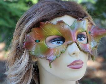 leather autumn leaf mask/face mask