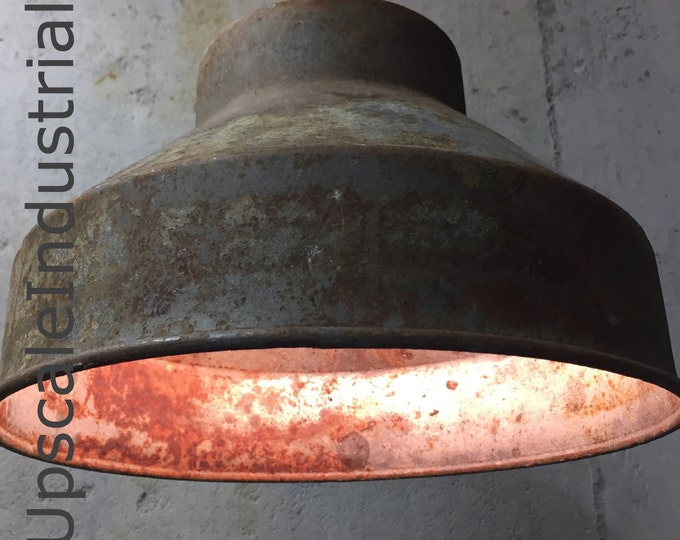 Featured listing image: Custom Ceiling Rusty Pendant Light VINTAGE Repurposed Industrial Light Pendant Strainer Farmhouse Light Kitchen Island Pendant Lighting