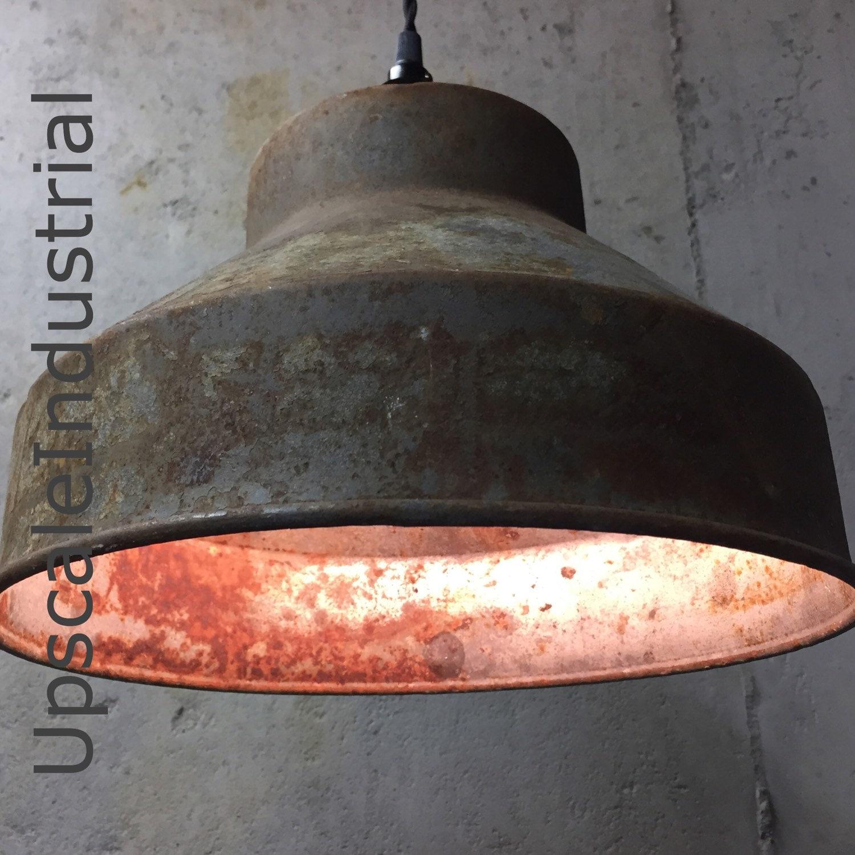 vintage farmhouse lighting. Vintage Farmhouse Lighting. Custom Ceiling Rusty Pendant Light Repurposed Industrial Strainer Kitchen Island Lighting E