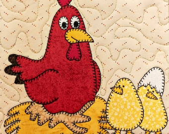 Hen and chicks PDF applique pattern; farm animal quilt block pattern; chicken PDF applique pattern; baby or child's quilt pattern