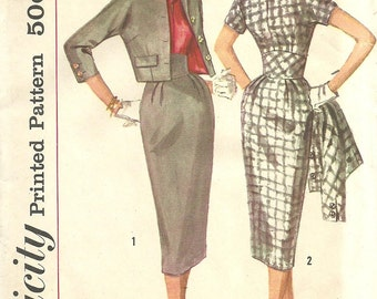 Simplicity 2624 / Vintage 50s Sewing Pattern / Dress And Cropped Jacket / Size 13 Bust 33