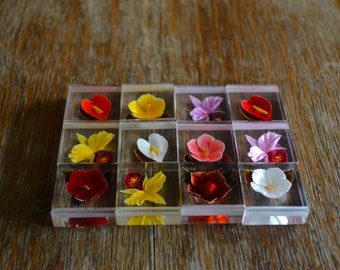 Vintage Flower Place Card Holders Lucite Place Card Holders Reversed Etched Flowers Wedding Place Card Holders Set of 12