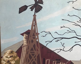 Farm windmill hay barn paint by number pbn beautiful