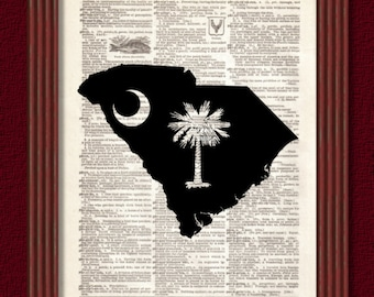 BUY 2 GET 1 FREE South Carolina Palmetto Moon State Map Dictionary Art Print Greenville Spartanburg Southern South Decor Charleston Columbia
